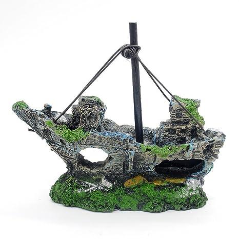 Adorno de resina para pecera de acuario, paisaje, lavabo, barco, simulación de