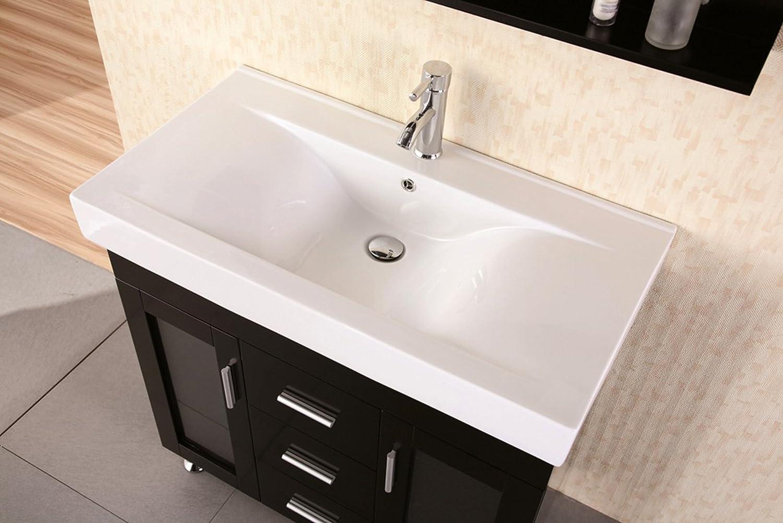 Design Element Miami Single Porcelain Integrated Drop In Countertop And  Sink Vanity Set, 36 Inch   Bathroom Vanities   Amazon.com