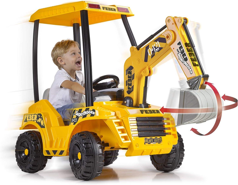 FEBER- Super Digger Excavadora a batería niñas a Partir de 3 años, 12V, (Famosa 800012320)