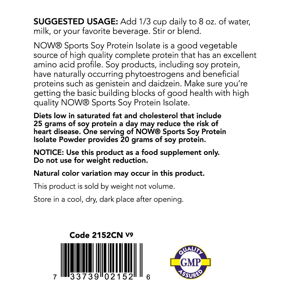 NOW Sports Nutrition, Soy Protein Isolate Powder, Unflavored, 2-Pound by Now Sports (Image #3)