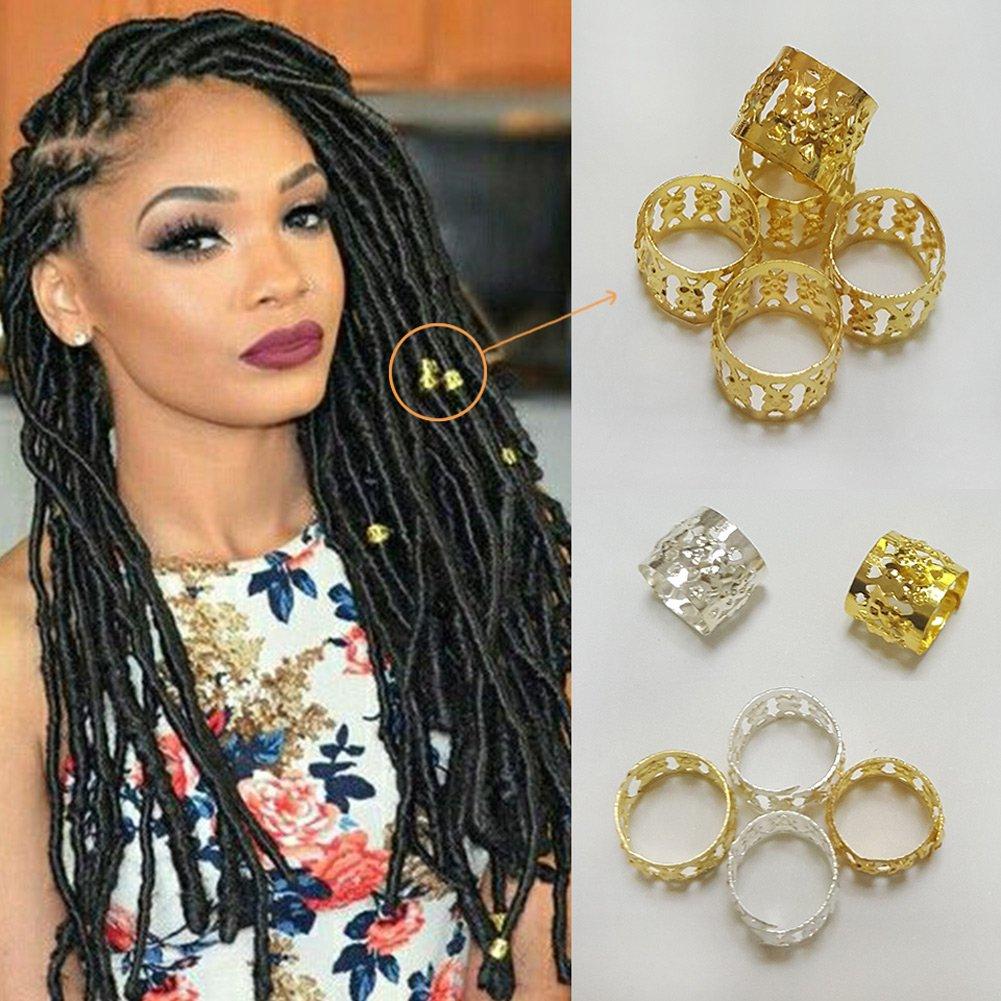 100 Pcs Dread Lock Dreadlocks Braiding Beads Golden Metal Cuffs Hair Accesories Decoration Adustable Braiding Ring