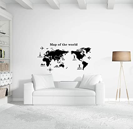 World Map Wall Decal Educational Decals World Map Wall Sticker - World map wallpaper decal