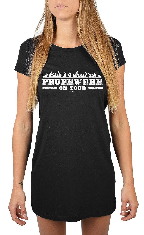 Lang geschnittenes T-Shirt für Frauen Feuerwehr on Tour Mädchen Schlafanzug Pyjama für Jugendliche Geschenkidee Sommerkleid