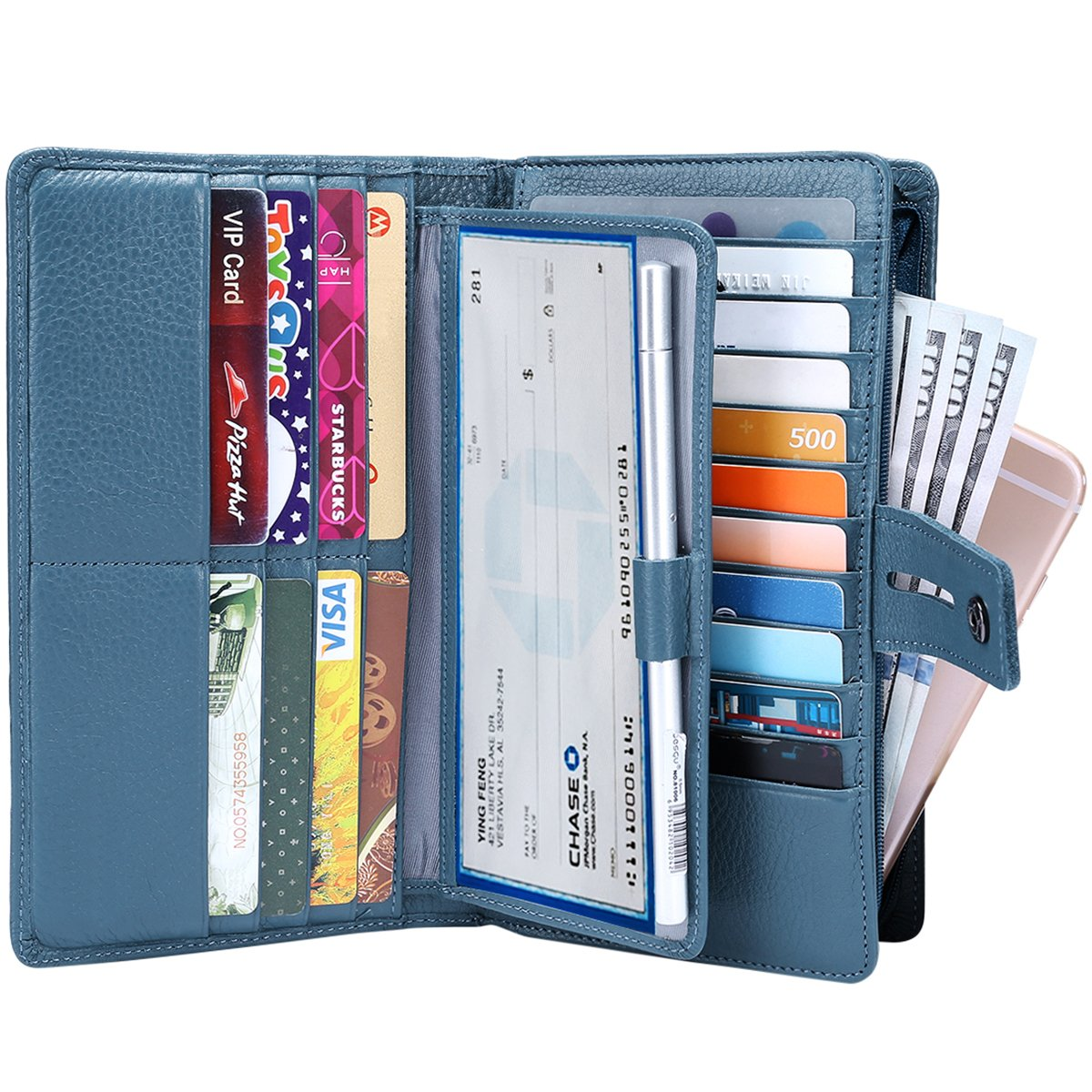 Itslife Women's Big Fat Rfid Blocking Leather wallet clutch organizer with checkbook holder(Blue)