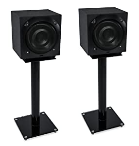 Mount-It! Bookshelf and Floor Speaker Stands for Satellite Speakers and Surround Sound (5.1 and 2.1) Systems, Glass and Aluminum, Black (MI-58B)