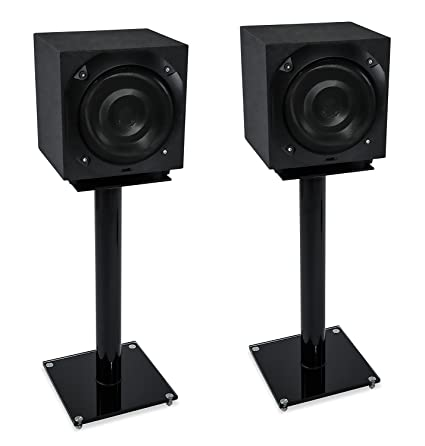 Mount It Premium Aluminum And Glass Speaker Stands For Home Theater Satellite Speakers