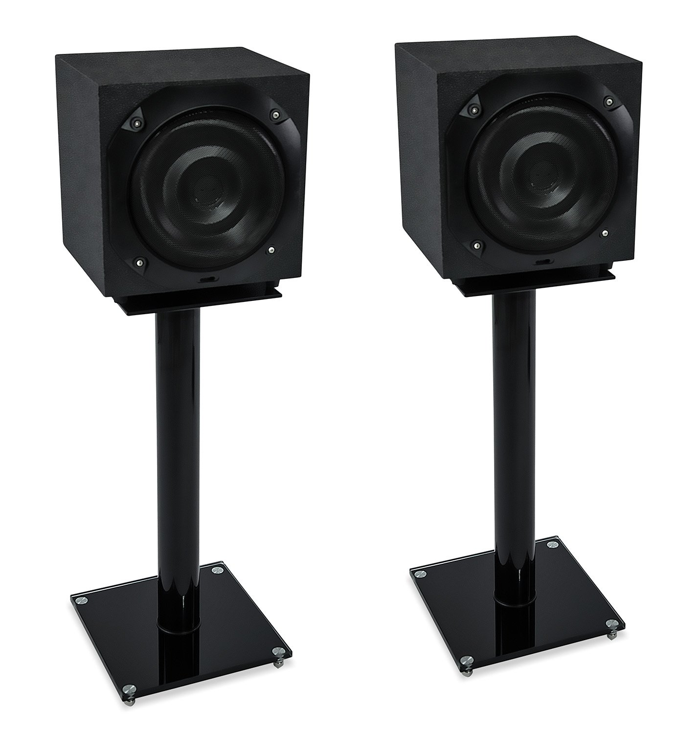 Mount-It! Floor Speaker Stands for Satellite Speakers and Surround Sound (5.1 and 2.1) Systems, Glass and Aluminum, Black (MI-58B)