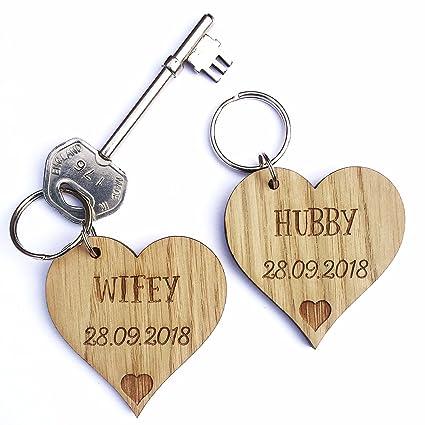 De madera en forma de corazón llavero de San Valentín ...