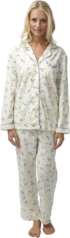 Pigiama da donna con casacca con bottoni color crema in flanella di cotone leggera Stampa floreale rosa o lilla Taglie: 40//42-56//58.