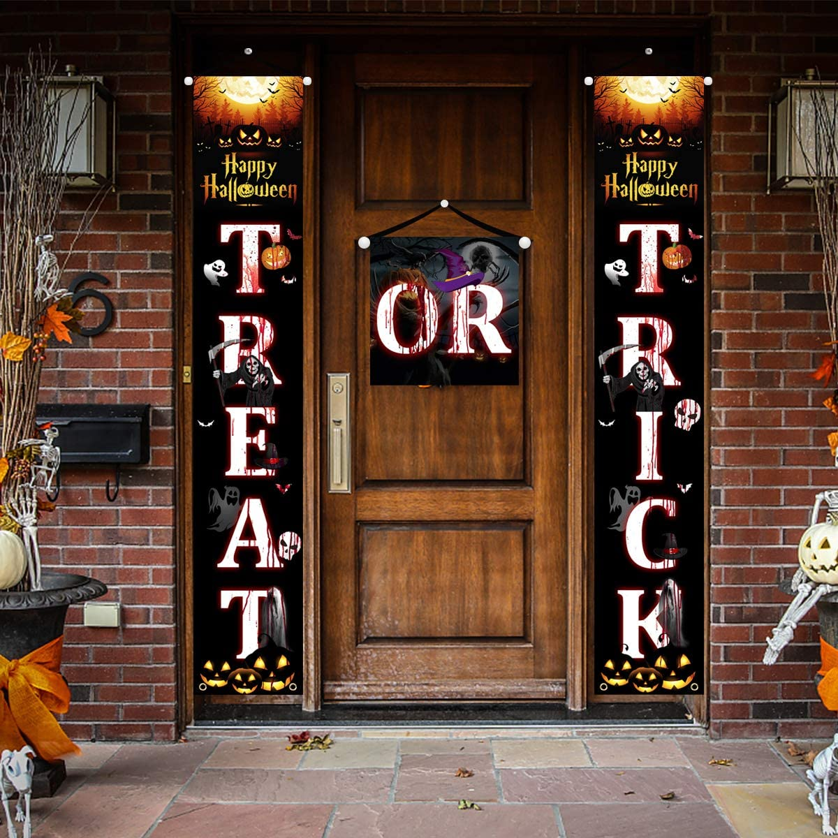 Trick Or Treat Halloween Decorations YSBER Hanging Porch Sign Banner for Front Door or Indoor Home Decor | Halloween Welcome Signs (Black)