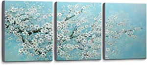 3 Piece Blue Canvas Bedroom Wall Decor White Flowers Picture Hand-Painted Oil Painting Framed Wall Art for Living Room Bathroom Modern Plant Decorations Artwork Size 16x24x3 Panel Ready to Hang