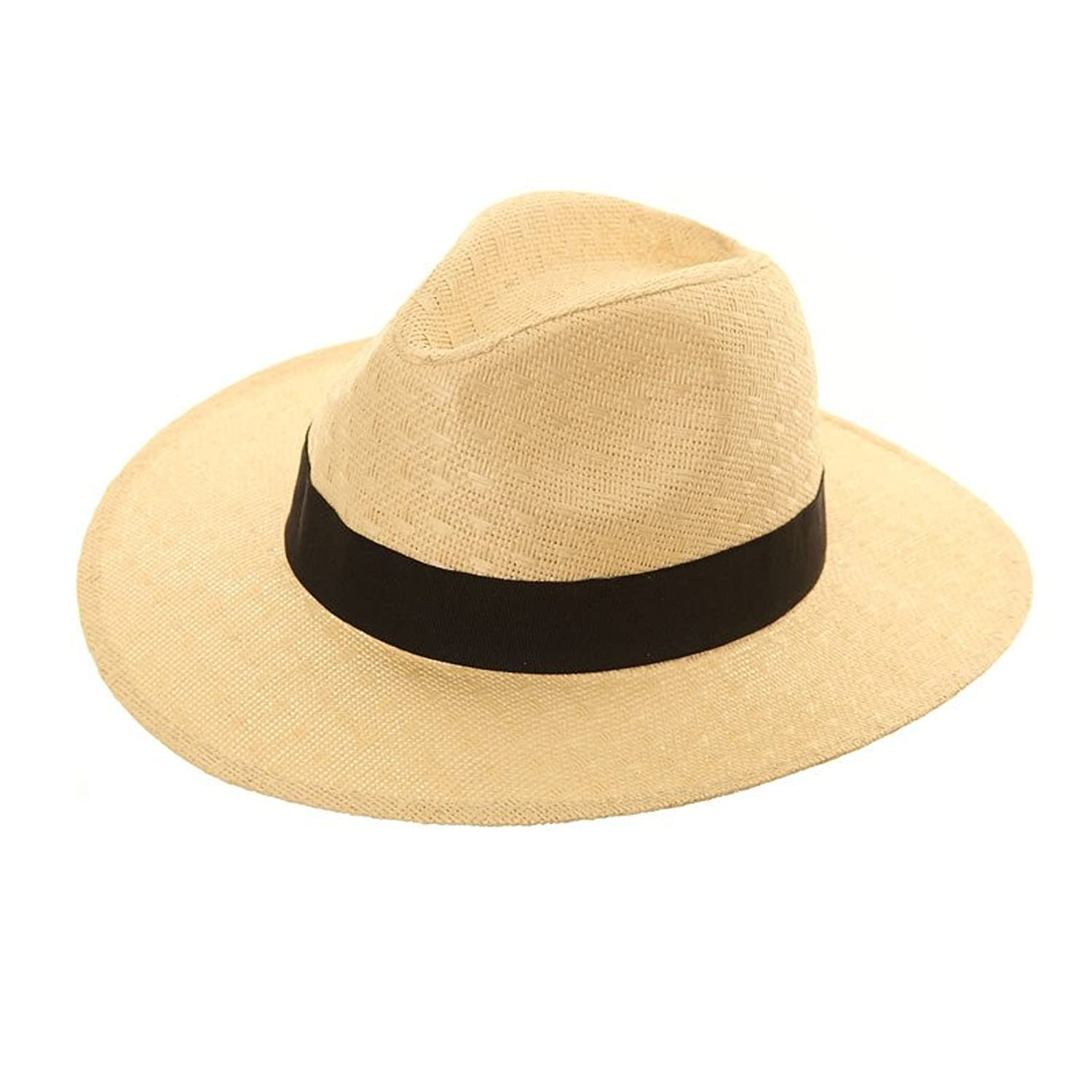 48fe274ee Unisex Straw Crushable Foldable Packable Summer Fedora,Panama Trilby Sun  HAT with Wide Black Band and Wider Brim