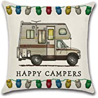 "YANGYULU Cute RV Vintage Camper Travel Trailer Cotton Linen Home Decorative Throw Pillow Case Sofa Cushion Cover 18"" x 18"""