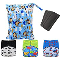 Baby Waterproof Charcoal Bamboo AI2 Cloth Diapers Nappies, Bamboo Inserts, A Wet Dry Bag