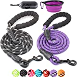 BAAPET 2 Packs 5/6 FT Strong Dog Leash with Comfortable Padded Handle and Highly Reflective Threads Dog Leashes for Small Med