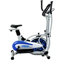 CARDIOWORLD stainless-steel 4 In 1 Orbitrek With Pulse Handle (Silver & Blue)