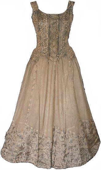 2XL Farbe grün L//XL Mittelalter-Kleid ärmellos Schnürung Stickerei Gr S//M