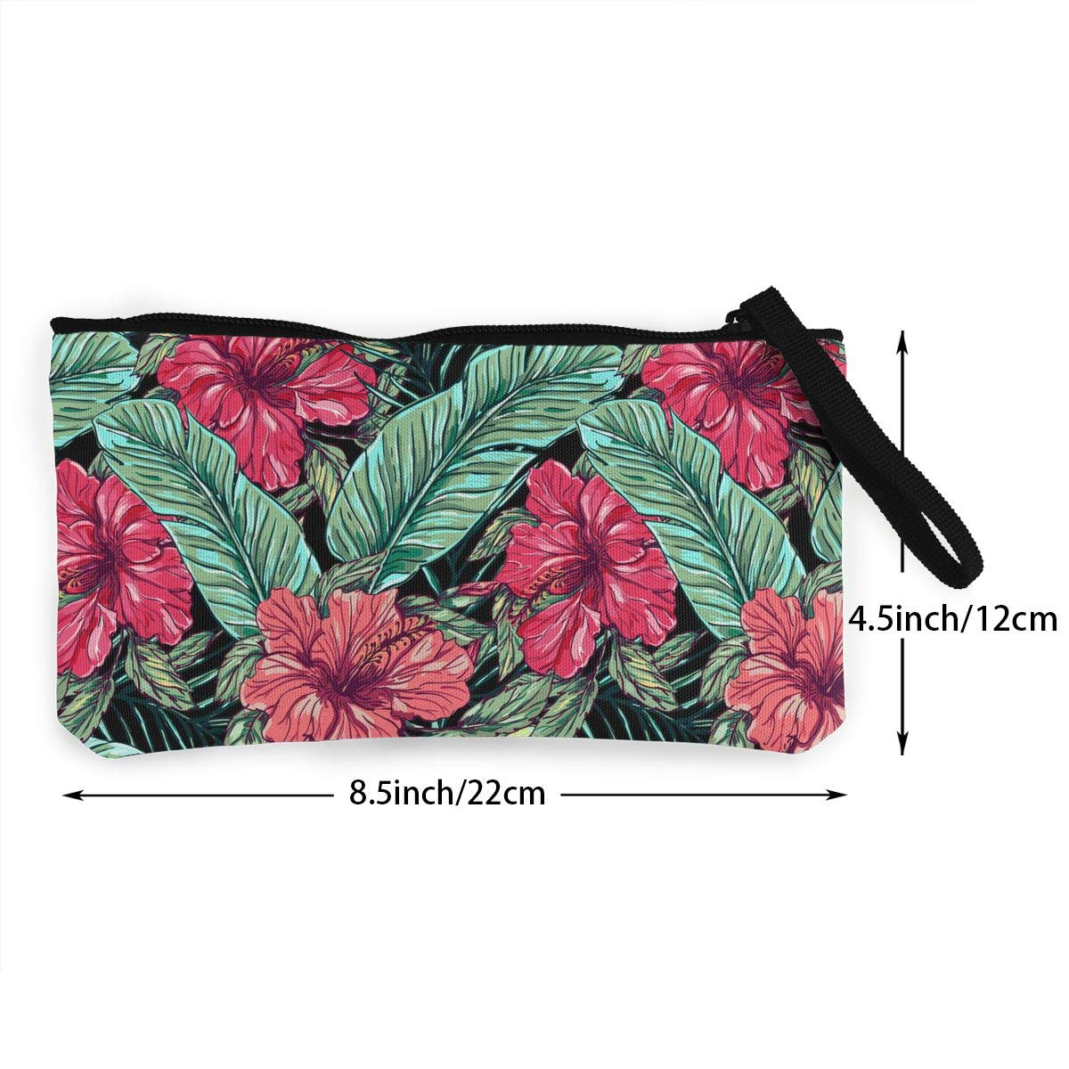 Zipper Small Purse Wallets Leaves And Plants Pattern Girls Canvas Coin Wallet