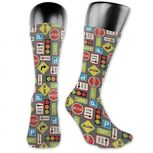 09ded6357a Various Road Signs Casual Socks Athletic Crew Socks For Female And ...