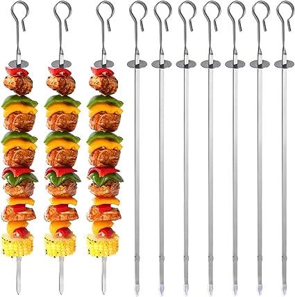 35cm Lang 410 Metall BBQ PGFUN 10PCS Grillspieße Edelstahl Kebab Spieße