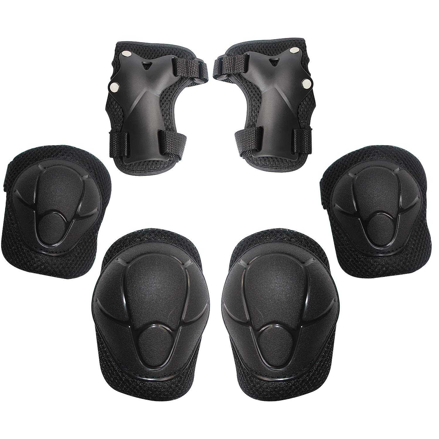MiNiSports Kids/Youth Knee Pad Elbow Pads Guards Protective Gear Set for Rollerblade Roller Skates Cycling BMX Bike Skateboard Inline Skatings Scooter Riding Sports - Black by MiNiSports