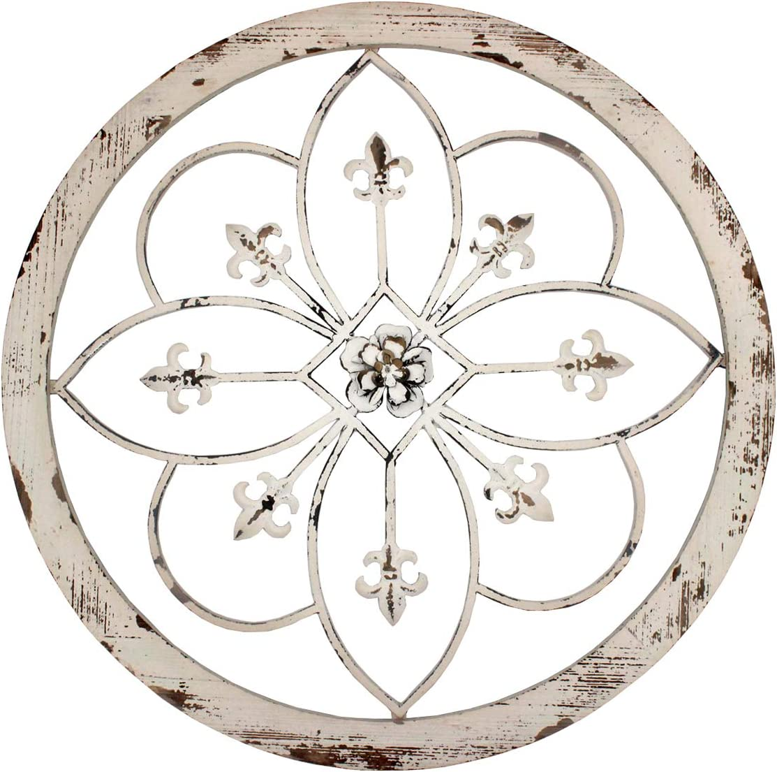 Funly mee Vintage 25.6 Inches Round Metal Flower Wall Decor with Wood Frame ,Metal Fleur De Lis Wall Scupures