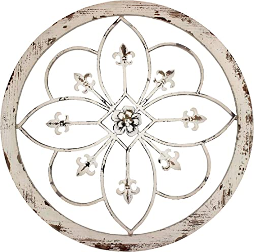 Funly mee Vintage 25.6 Inches Round Metal Flower Wall Decor
