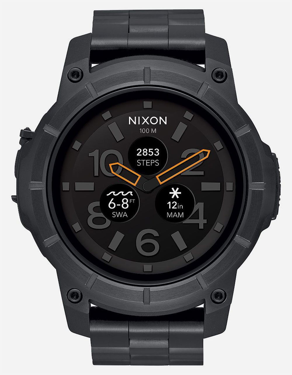 Nixon A1216-000 Mission SS Men's Watch Black 48mm Custom Injection Molded Fiber Reinforced Polycarbonate Case, Solid Stainless Steel Bezel by NIXON