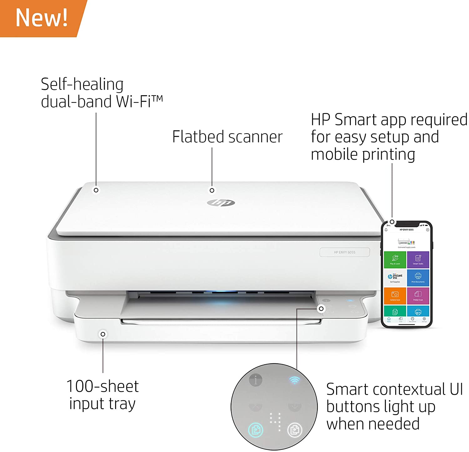 HP ENVY 6055 Wireless All-in-One Printer, Mobile Print, Scan & Copy, Works with Alexa (5SE16A): Electronics