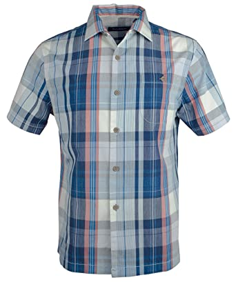 e9f87377 Tommy Bahama Men's Madras Magic Short Sleeve Island Zone Button Front Shirt  at Amazon Men's Clothing store:
