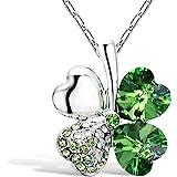 "Merdia Four Leaf Clover Heart-shaped Crystal Pendant Necklace 16"" + 5"" Extender"