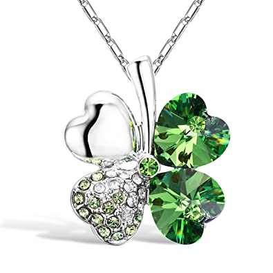 63b60bede7df8f Merdia Crystal Four Leaf Clover Pendant Necklace with Chain for Women  16 quot  + 5 quot