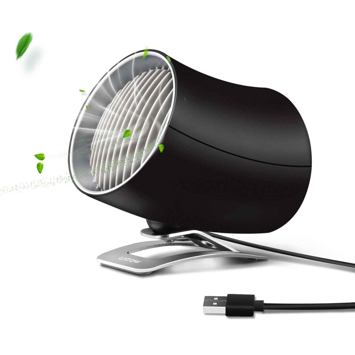 Mini USB Table Fan, Portable Personal Desk Fan with Two Speeds Adjustable Touch Control, PC/Laptop Cooling Fan for Home, Office, Travel - Dual Motor Driver, Double Blades, Color Black