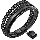 Speroto New Mens Bracelet Bead and Leather Braided, Lava and Onyx Bead Leather Bracelet for Men