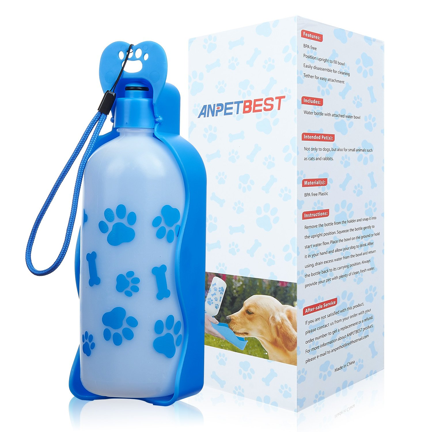 ANPETBEST Travel Water Bottle 650ML / 22oz Water Dispenser Portable Mug for Dogs,Cats and Other Small Animals (Blue-650ML) by ANPETBEST (Image #8)