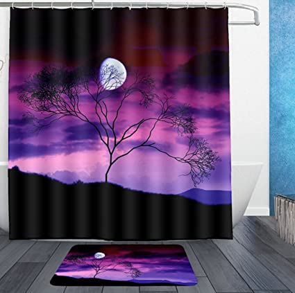 AMERICAN TANG Stranger Full Moon Starry Tree Thing Purple Shower Curtain Liner With Hooks And Bath