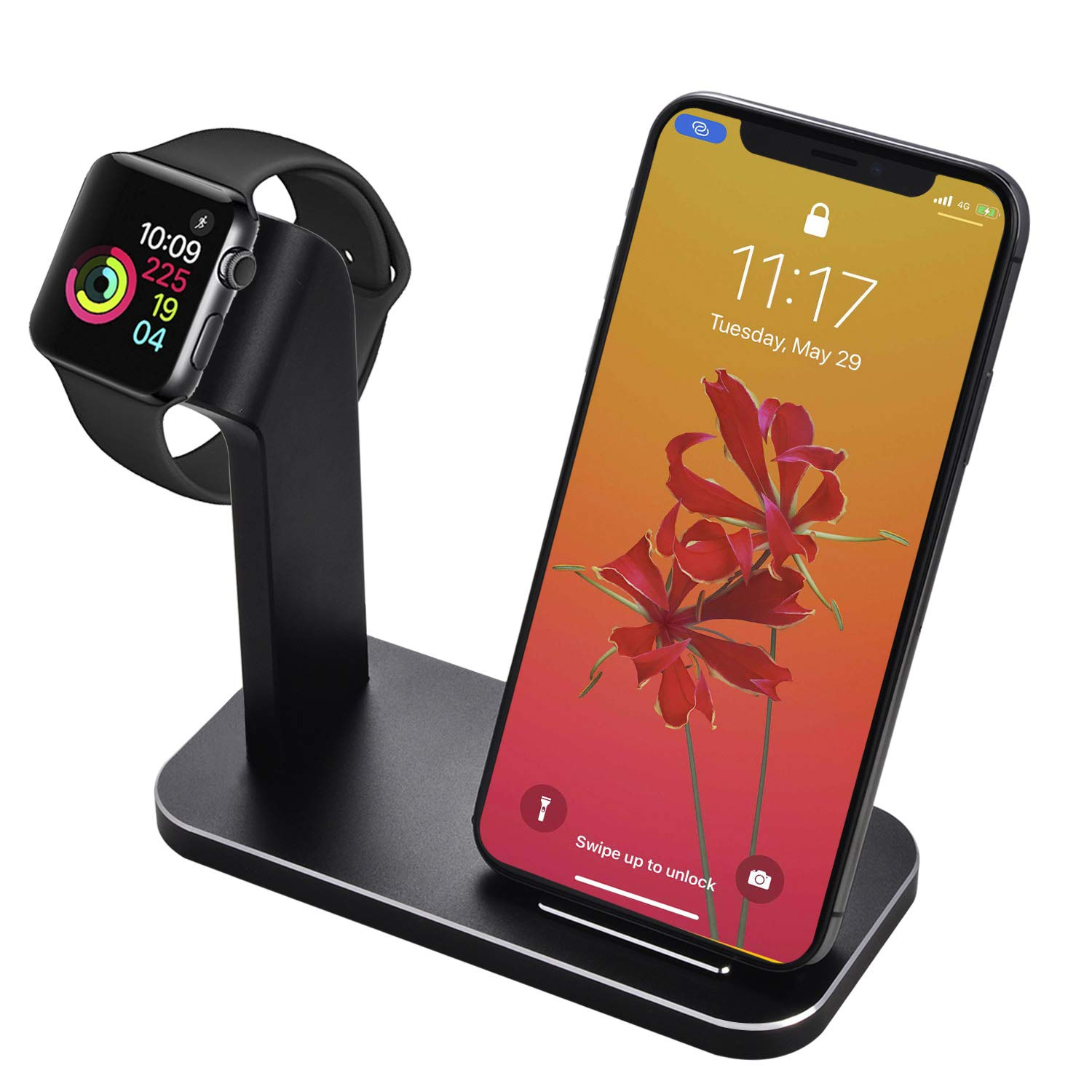 BNCHI 2 in 1 Aluminum Alloy Phone Wireless Charger Stand & Charging Station Compatible Watch Series 5/4/3/2/1/Phone11/11pro/X/Xs/Xs MAX/8 Plus/8 (Black) by BNCHI