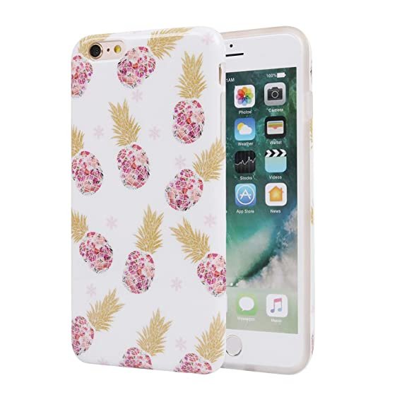 the best attitude 9e447 32df7 iPhone 6 Plus Case for Girls, Cute Slim Fit Soft TPU Protective Cover Phone  Case for Apple iPhone 6 Plus/iPhone 6s Plus Gold Pineapple