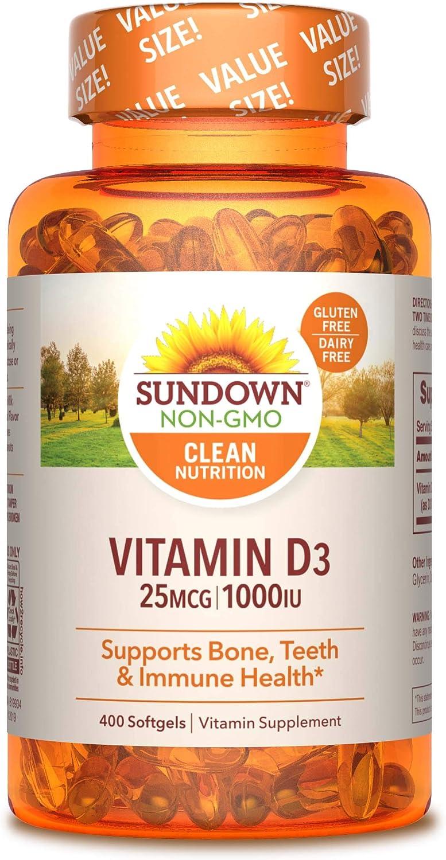 Vitamin D3 by Sundown, Immnue Support & Bone & Teeth Health, 1000iu D3, Gluten Free, Dairy Free, 400 Softgels