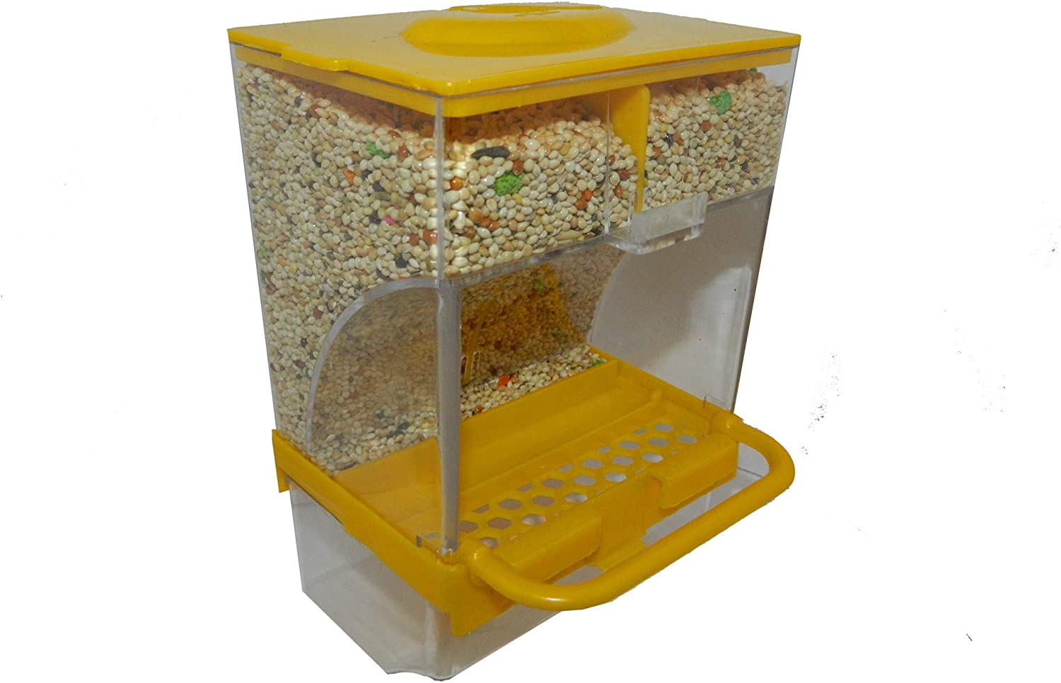 Petgroup No-Mess Bird Feeder Parrot Automatic Feeder Seed Pet Food Container Perch Cage Accessories for Budgerigar Canary Cockatiel Finch Parakeet