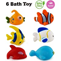 WISHKEY Chu Chu Colorful Floating Bath Toys for Baby Aquatic Fish Animals Set of 6 Non Toxic BPA Free