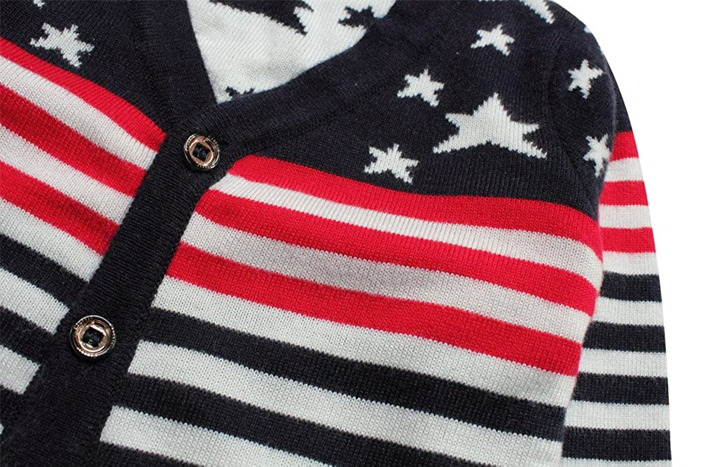 E-Tree eTree Little Boys Girls Baby Striped Flag Cashmere Cardigan Sweater