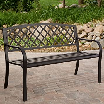 Amazoncom Coral Coast Crossweave Curved Back 4 ft Garden Bench