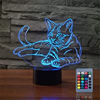 Pet Cat 3D Birthday Gift Illusion Night Lamp Beside Table Lamp, Gawell 7 Color Changing Touch Switch Xmas Decoration…
