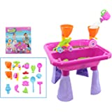 deAO Sand and Water Table with Double Compartment for Toddlers Including Assorted Accessories in Colour Pink