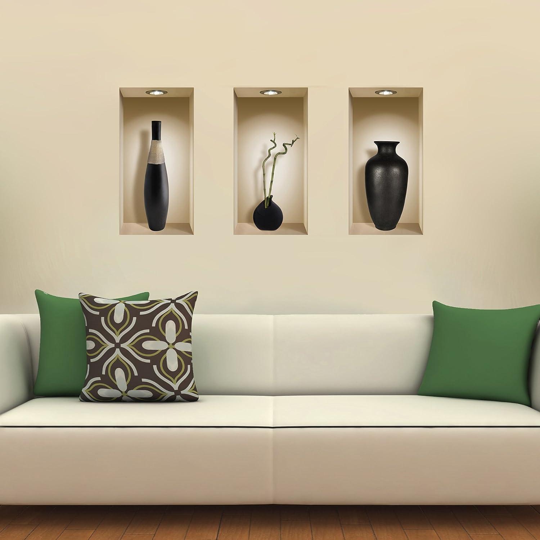 Amazon.com: The Nisha Art Magic 3D Vinyl Removable Wall Sticker Decals DIY,  Set Of 3, Black Vases: Home U0026 Kitchen