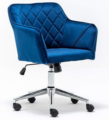 BTEXPERT Shape Blue Modern Diamond Contemporary Tufted Home Office Bucket Velvet Vanity Chair