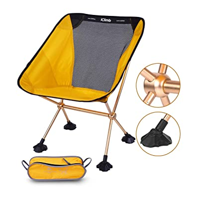 iClimb Ultralight Compact Camping Folding Beach Chair with Large Feet (Yellow - Metal Connection): Kitchen & Dining