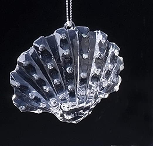 Icy Crystal Acrylic Iridescent Seashell Christmas Ornament