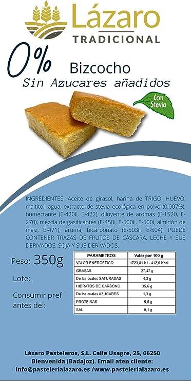 Lázaro Bizcocho Sin Azúcar Añadido (con Maltitol), Almendra, 350 Gramos